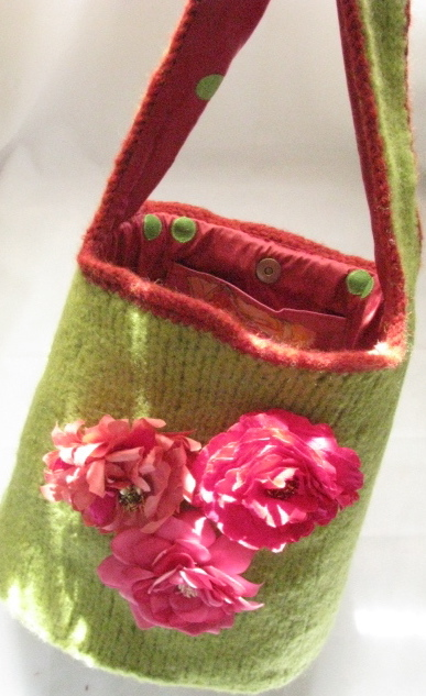 Bucket of Roses Felted Hobo Purse