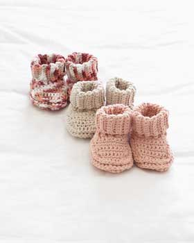 Stay-on knit and crochet baby booties free patterns Knitnscribble.net