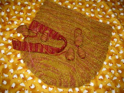 Chicken hobo handbag purse knitted felted