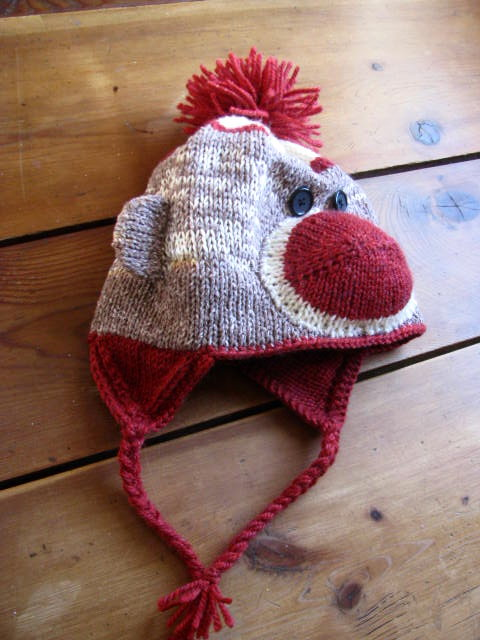 Sock monkey hat pattern for kids and adults KnitnScribble
