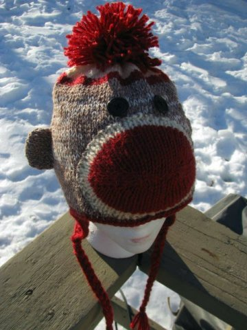 Cheeky sock monkey hat pattern